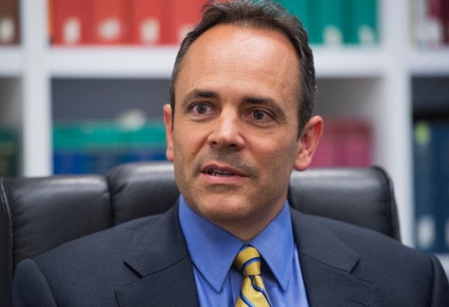 UNITED STATES - SEPTEMBER 04: Matt Bevin, Republican Senate candidate from Kentucky, is interviewed in Roll Call offices. (Photo By Tom Williams/CQ Roll Call)