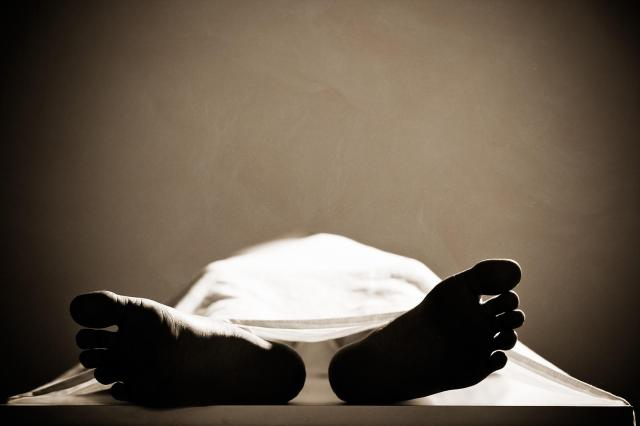 Dead body in a mortuary